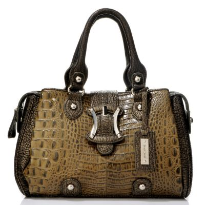 "704-196 - Madi Claire ""Sydney"" Croco Embossed Convertible Leather Satchel"