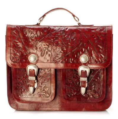 704-203 - American West Hand Tooled Leather Briefcase