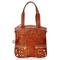 American West Hand Tooled Leather Convertible Top Zip Handbag