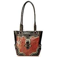 American West Leather Zip Top Tote with Outside Pockets