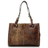 MADI CLAIRE REBECCA MATTE CROCO EMBO LEATHER TOTE