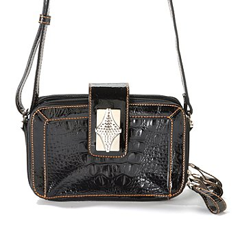 704-311 - Madi Claire ''Presley'' Croco Embossed Leather Organizer Cross Body Bag