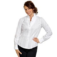 Womens White Ruffle Blouse