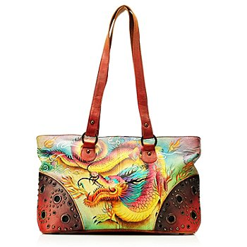 704-384 - Anuschka Hand Painted Leather Double Entry Tote Bag