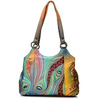 Anushcka Hand Painted Leather Triple Compartment Medium Satchel