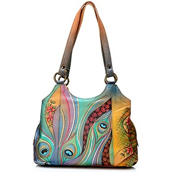 704-385 - Anuschka Hand-Painted Leather Triple Compartment Medium Satchel