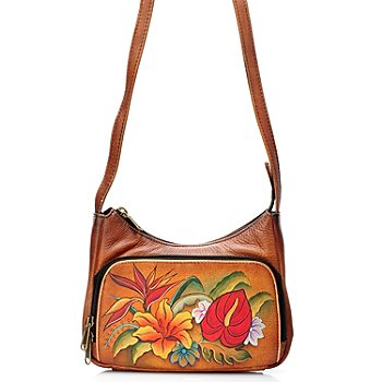 704-386 - Anuschka Hand Painted Leather Compact Cross Body Travel Organizer