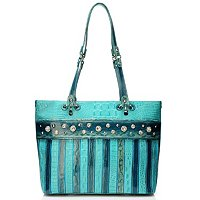 Madi Claire Croco Embossed Double Handled Tote with Jewel Detail