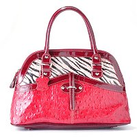 Madi Claire Haley Ostrich Embossed Leather Dome Satchel with Zebra Trim
