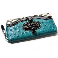 Madi Claire Haley Ostrich Embossed Leather Wallet with Zebra Trim