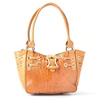 Madi Claire Croco Embossed Leather Tote with Buckle