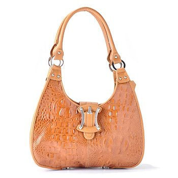 704-423 - Madi Claire Buckle Detail Croco Embossed Leather Hobo Handbag