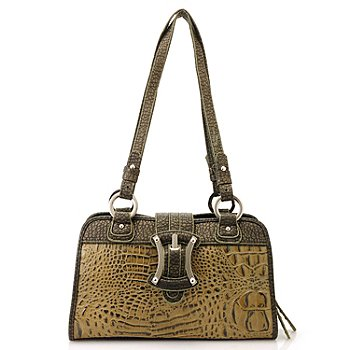 704-424 - Madi Claire Buckle Detail Croco Embossed Leather Satchel Handbag
