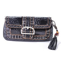 Madi Claire Keira Croco Embossed Leather Shoulder Bag with Studs and Buckle