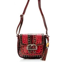 Madi Claire Keira Croco Embossed Leather Camera Bag with Studs and Buckle