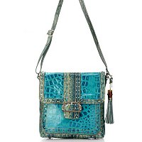 Madi Claire Keira Croco Embossed Leather Messenger Bag with Studs and Buckle