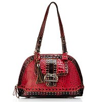 Madi Claire Keira Croco Embossed Leather Dome Satchel with Studs and Buckle