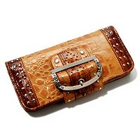 Madi Claire Keira Croco Embossed Leather Wallet with Studs and Buckle