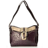 Madi Claire Zoey Croco Embossed Leather Shoulder Bag with Buckle