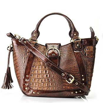 704-439 - Madi Claire ''Donia'' Matte Croco Embossed Leather Satchel Handbag
