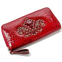 Madi Claire Saint Patent Croco Embossed Leather Wallet with Fleur de Lis