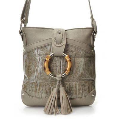 "704-447 - Madi Claire Croco Embossed Leather ""Ruby"" Cross Body Bag"