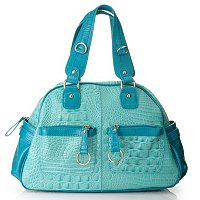 Madi Claire Bailey Croco Embossed Leather Bowling Bag with Pockets