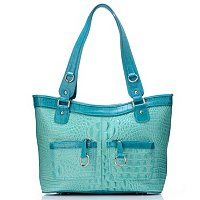 Madi Claire Bailey Croco Embossed Leather Tote with Pockets