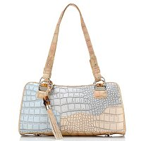 Madi Claire Heather Matte Croco Embossed Leather Satchel