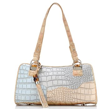 704-455 - Madi Claire Croco Embossed Leather Double Handle ''Heather'' Satchel