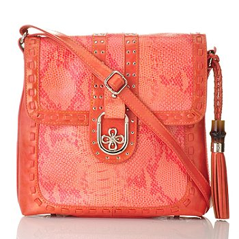 704-458 - Madi Claire Snake Embossed Leather ''Fiona'' Cross Body Bag