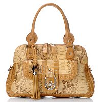Madi Claire Fiona Snake Embossed Leather Dome Satchel
