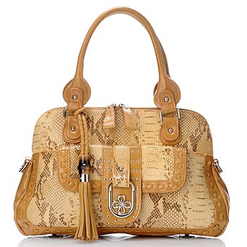 704-459 - Madi Claire Snake Embossed Leather ''Fiona'' Dome Satchel