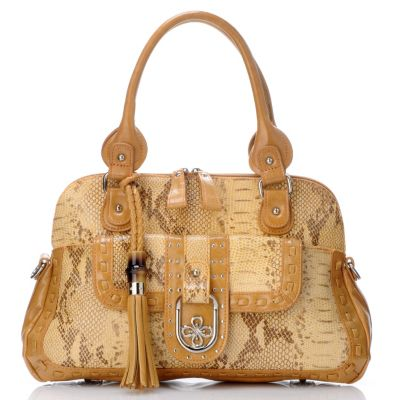 "704-459 - Madi Claire Snake Embossed Leather ""Fiona"" Dome Satchel"