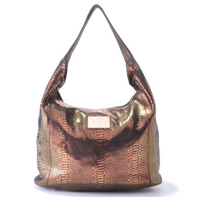 "704-473 - Jack French London Leather ""Primrose"" Snake Print Hobo Handbag"
