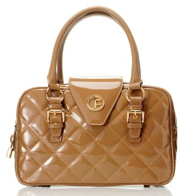 "704-475 - Jack French London Patent Leather ""Burlington"" Quilt Stitched East-West Satchel"