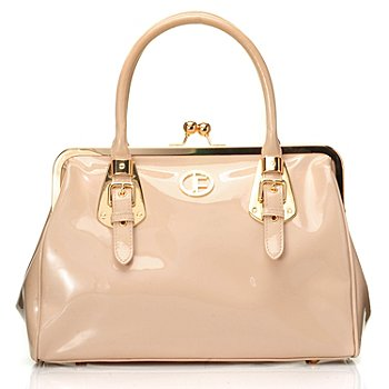 704-476 - Jack French London Leather ''Knightsbridge'' Satchel w/ Kiss Lock Closure