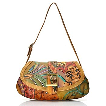 704-495 - Anuschka Hand Painted Leather Ruched Bottom Shoulder Bag