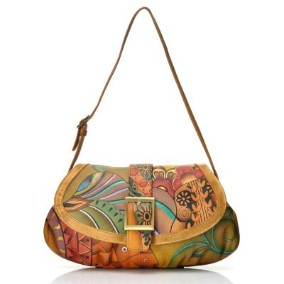 704-495 - Anuschka Hand-Painted Leather Ruched Bottom Shoulder Bag