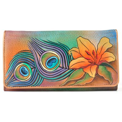 704-501 - Anuschka Hand Painted Leather Accordian Flap Wallet
