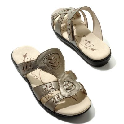 "704-607 - Propet ""Jasmine"" Leather Ortholite Slide Sandals"