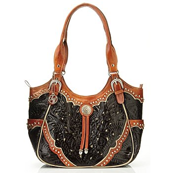 704-620 - American West Hand Tooled Leather Scoop Top Tote Bag