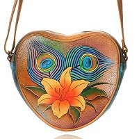 Auschka Hand Painted Heart Shaped Bag