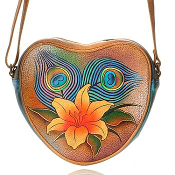 704-635 - Anuschka Hand-Painted Leather Heart Shaped Handbag