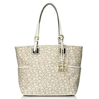 704-660 - Calvin Klein Handbags Logo Coated Canvas East/West Tote