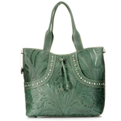 704-697 - American West Hand-Tooled Leather Studded Convertible Tote Bag