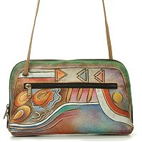 ANUSCHKA HAND-PAINTED LEATHER MULTI COMPARTMENT ALL ROUND ZIP