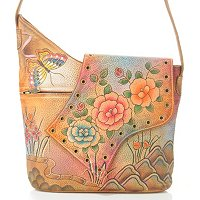 ANUSCHKA HAND-PAINTED LEATHER ABSTRACT FLAP BAG
