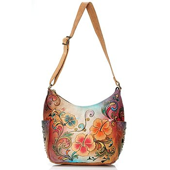 705-222 - Anuschka Hand-Painted Leather Hobo with Side Pockets