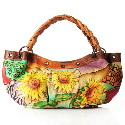 705-226 - Anuschka Hand-Painted Leather Hobo Handbag with Braided Handles